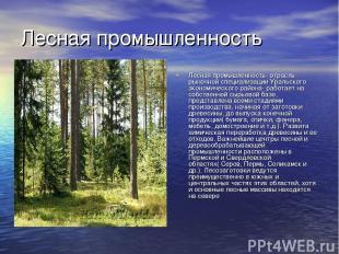 Лесная промышленность Лесная промышленность- отрасль рыночной специализации Урал