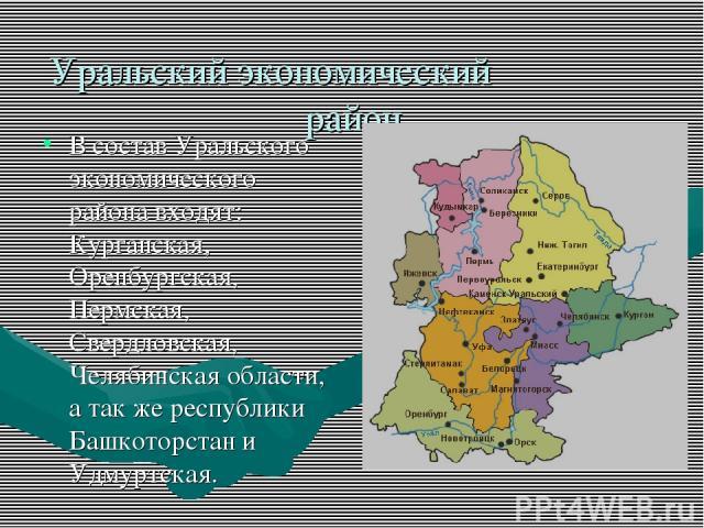 Уральский экономический район В состав Уральского экономического района входят: Курганская, Оренбургская, Пермская, Свердловская, Челябинская области, а так же республики Башкоторстан и Удмуртская.