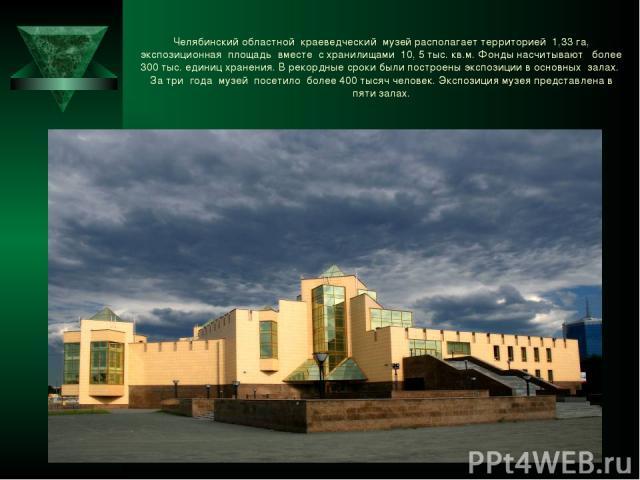 Челябинский областной краеведческий музей располагает территорией 1,33 га, экспозиционная площадь вместе с хранилищами 10, 5 тыс. кв.м. Фонды насчитывают более 300 тыс. единиц хранения. В рекордные сроки были построены экспозиции в основных залах. З…