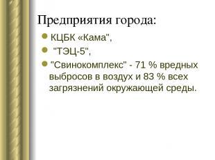 """Предприятия города: КЦБК «Кама"""", """"ТЭЦ-5"""", """"Свинокомплекс"""" - 71 % вредных выбросо"""