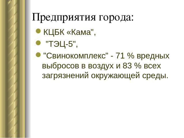 Предприятия города: КЦБК «Кама