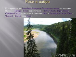 Реки принадлежат бассейнам Северного Ледовитого океана (на западном склоне— Печ