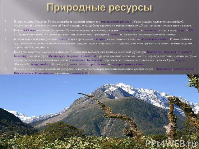 Из природных богатств Урала важнейшее значение имеют его минеральные ресурсы. Урал издавна является крупнейшей горнорудной и металлургической базой страны. А по добыче некоторых минеральных руд Урал занимает первое место в мире. Ещё в XVI веке на за…