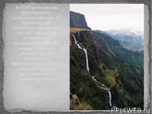В ЮАР представлены разнообразные климатические зоны, от сухойпустыни Намибдо