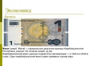 Экономика Манат(азерб.Manat)—официальная денежная единица Азербайджанской Ре