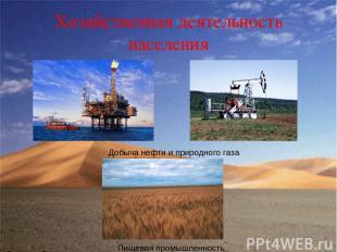 Хозяйственная деятельность населения Добыча нефти и природного газа Пищевая пром