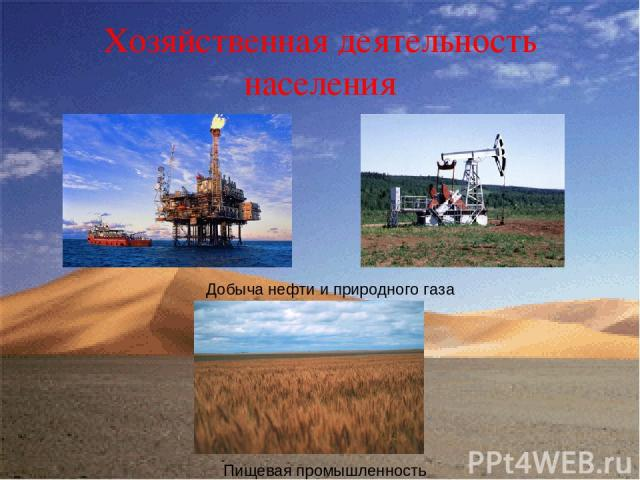 Хозяйственная деятельность населения Добыча нефти и природного газа Пищевая промышленность
