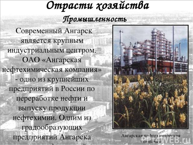 Современный Ангарск является крупным индустриальным центром. ОАО «Ангарская нефтехимическая компания» - одно из крупнейших предприятий в России по переработке нефти и выпуску продукции нефтехимии. Одним из градообразующих предприятий Ангарска являет…