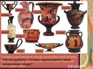 Афинский район Керамик. Гончары изготовляли посуду разнообразной формы. Простую
