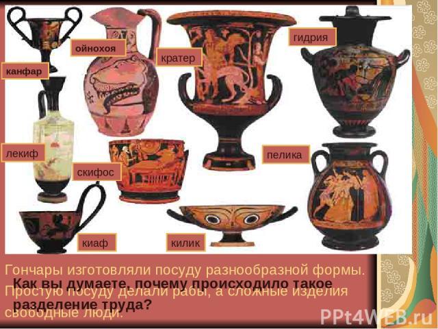 Афинский район Керамик. Гончары изготовляли посуду разнообразной формы. Простую посуду делали рабы, а сложные изделия свободные люди. Как вы думаете, почему происходило такое разделение труда?