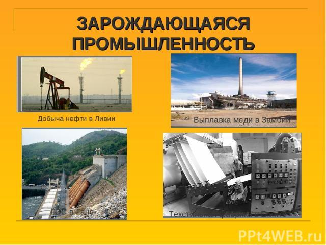 ЗАРОЖДАЮЩАЯСЯ ПРОМЫШЛЕННОСТЬ Добыча нефти в Ливии ГЭС в Гане Текстильная фабрика в Египте Выплавка меди в Замбии