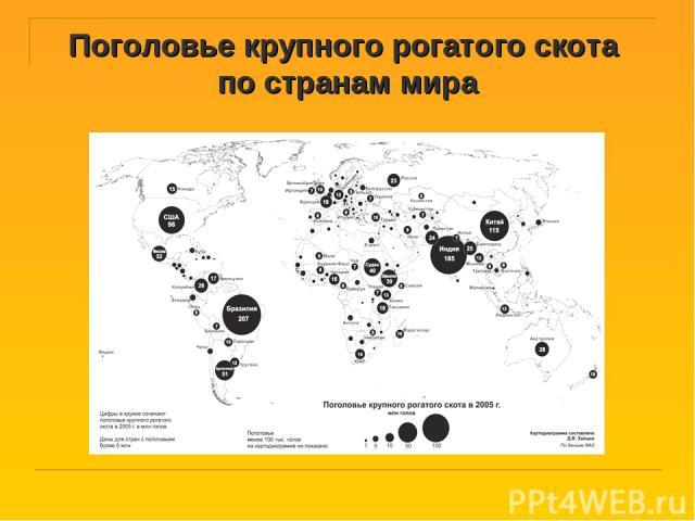 Поголовье крупного рогатого скота по странам мира