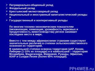 Патриархально-общинный уклад Феодальный уклад Крестьянский мелкотоварный уклад Н