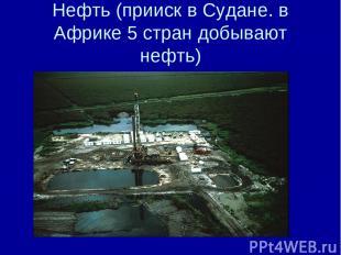 Нефть (прииск в Судане. в Африке 5 стран добывают нефть)