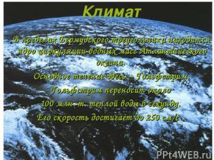 Климат В пределах Бермудского треугольника находится ядро циркуляции водных масс