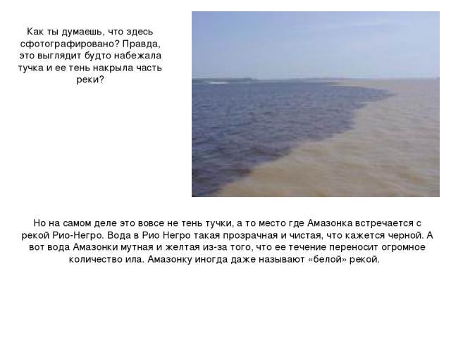 Как ты думаешь, что здесь сфотографировано? Правда, это выглядит будто набежала тучка и ее тень накрыла часть реки? Но на самом деле это вовсе не тень тучки, а то место где Амазонка встречается с рекой Рио-Негро. Вода в Рио Негро такая прозрачная и …