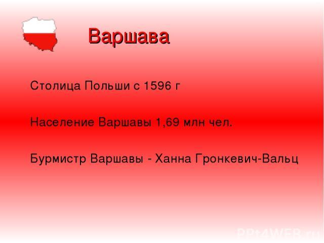 Варшава Столица Польши с 1596 г Население Варшавы 1,69 млн чел. Бурмистр Варшавы - Ханна Гронкевич-Вальц