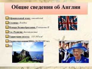 Общие сведения об Англии Официальный язык : английский Столица: Лондон Монарх Ве