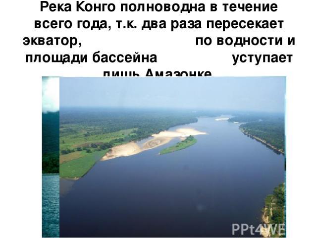 Река Конго полноводна в течение всего года, т.к. два раза пересекает экватор, по водности и площади бассейна уступает лишь Амазонке.