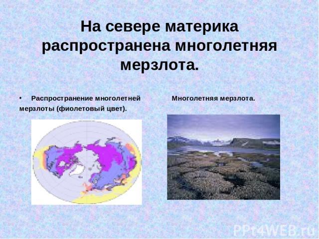На севере материка распространена многолетняя мерзлота. Распространение многолетней Многолетняя мерзлота. мерзлоты (фиолетовый цвет).