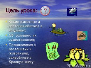 Цель урока: Какие животные и растения обитают в водоёмах; Об условиях их существ