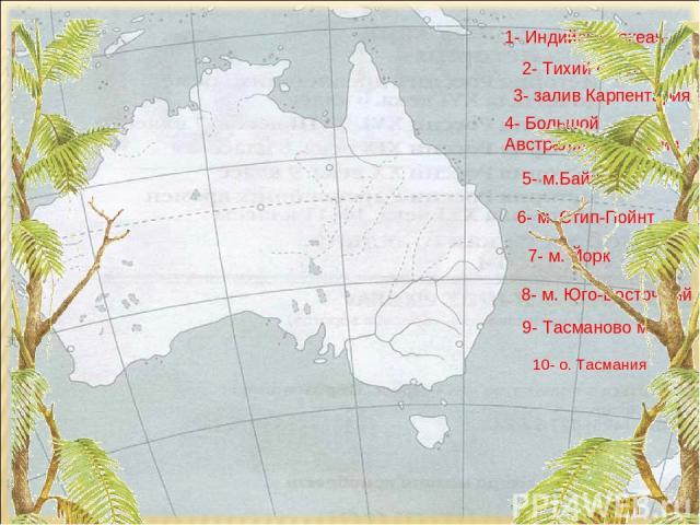10- о. Тасмания 1- Индийский океан 2- Тихий океан 3- залив Карпентария 4- Большой Австралийский залив 5- м.Байрон 6- м. Стип-Пойнт 7- м. Йорк 8- м. Юго-Восточный 9- Тасманово море