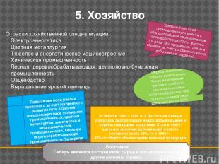 5. Хозяйство Отрасли хозяйственной специализации: Электроэнергетика Цветная мета