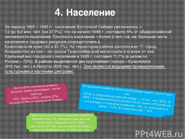 4. Население За период 1965 – 1995 гг. население Восточной Сибири увеличилось с 7,2 до 9,2 млн. чел. (на 27,7%), что на начало 1996 г. составило 6% от общероссийской численности населения. Плотность населения – более 2 чел./ кв. км. Большая часть на…
