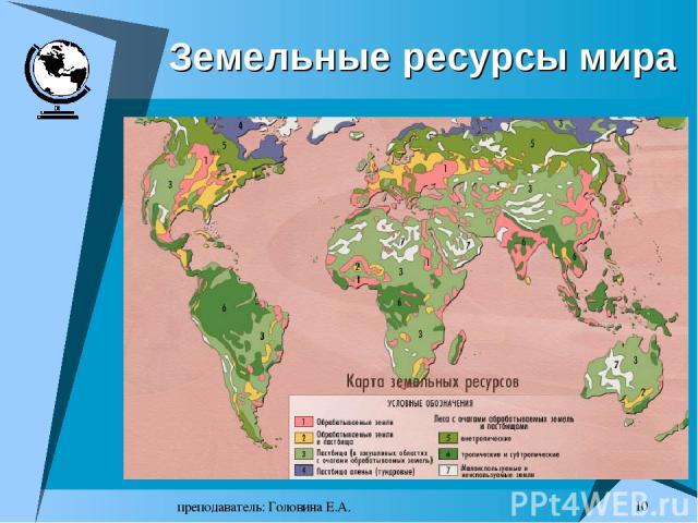 преподаватель: Головина Е.А. * Земельные ресурсы мира преподаватель: Головина Е.А.