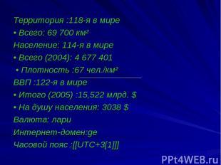 Территория :118-я в мире • Всего: 69 700 км² Население: 114-я в мире  • Всего