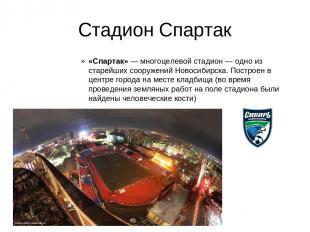 Стадион Спартак «Спартак»— многоцелевой стадион— одно из старейших сооружений