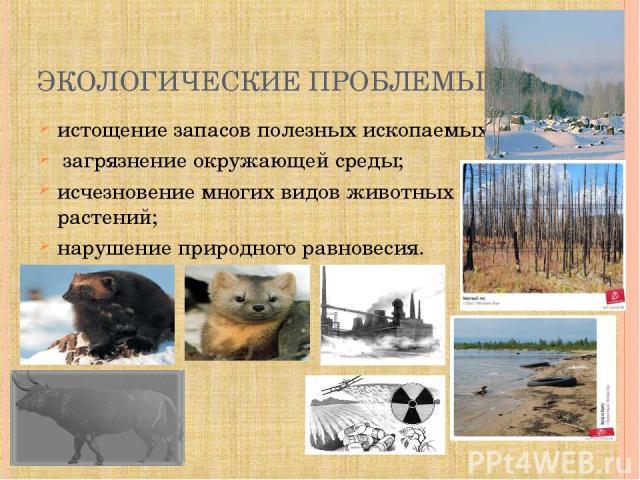 ЭКОЛОГИЧЕСКИЕ ПРОБЛЕМЫ: истощение запасов полезных ископаемых; загрязнение окружающей среды; исчезновение многих видов животных и растений; нарушение природного равновесия.