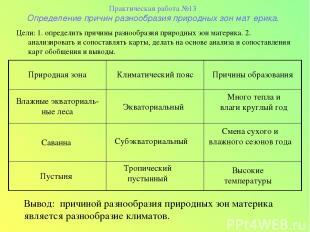 Практическая работа №13 Определение причин разнообразия природных зон материка.