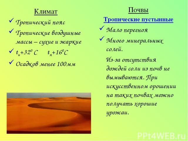 Климат Тропический пояс Тропические воздушные массы – сухие и жаркие tи+320 С tя+160С Осадков менее 100мм Почвы Тропические пустынные Мало перегноя Много минеральных солей. Из-за отсутствия дождей соли из почв не вымываются. При искусственном орошен…
