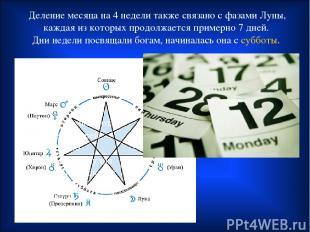 Деление месяца на 4 недели также связано с фазами Луны, каждая из которых продол