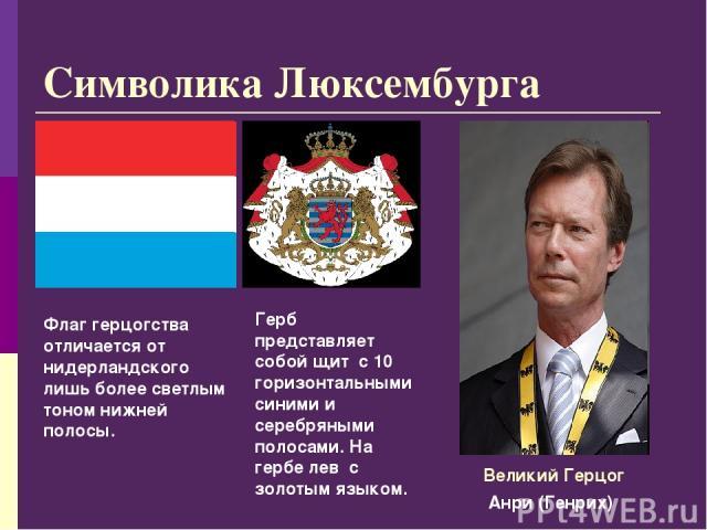 Символика Люксембурга Флаг герцогства отличается от нидерландского лишь более светлым тоном нижней полосы. Герб представляет собой щит с 10 горизонтальными синими и серебряными полосами. На гербе лев с золотым языком. Анри (Генрих) Великий Герцог