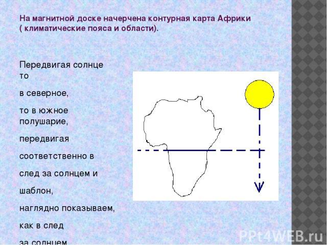 На магнитной доске начерчена контурная карта Африки ( климатические пояса и области). Передвигая солнце то в северное, то в южное полушарие, передвигая соответственно в след за солнцем и шаблон, наглядно показываем, как в след за солнцем передвигают…