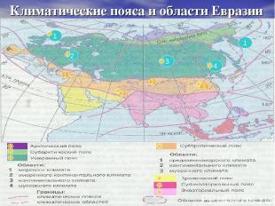 Климатические пояса и области Евразии 2 3 1 4 1 1 2 2 3