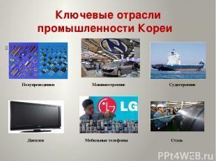 Ключевые отрасли промышленности Кореи Полупроводники Машиностроение Судостроение