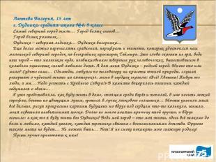 Лаптева Валерия, 15 лет г. Дудинка, средняя школа № 4, 9 класс Самый северный го