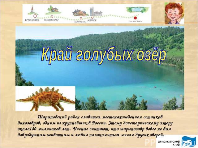 Шарыповский район славится местонахождением останков динозавров, одним из крупнейших в России. Этому доисторическому ящеру около180 миллионов лет. Ученые считают, что шарыпозавр вовсе не был добродушным животным и любил полакомиться мясом других зверей.