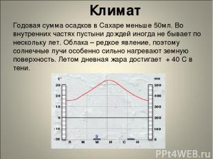 Климат Годовая сумма осадков в Сахаре меньше 50мл. Во внутренних частях пустыни