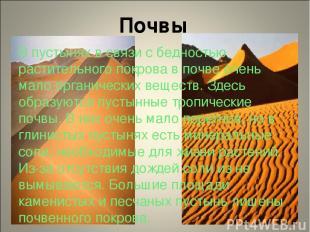 Почвы В пустынях в связи с бедностью растительного покрова в почве очень мало ор