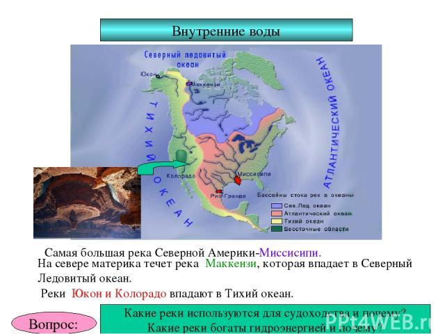 Внутренние воды Самая большая река Северной Америки-Миссисипи. На севере материка течет река Маккензи, которая впадает в Северный Ледовитый океан. Реки Юкон и Колорадо впадают в Тихий океан. Вопрос: Какие реки используются для судоходства и почему? …