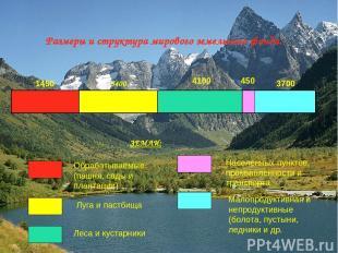 Размеры и структура мирового земельного фонда. 1450 3400 450 4100 3700 ЗЕМЛИ: Об