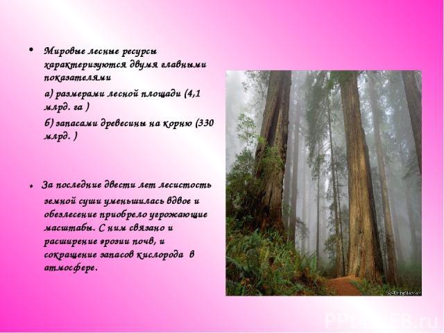 Мировые лесные ресурсы характеризуются двумя главными показателями а) размерами лесной площади (4,1 млрд. га ) б) запасами древесины на корню (330 млрд. ) . За последние двести лет лесистость земной суши уменьшилась вдвое и обезлесение приобрело угр…