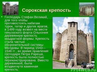 Сорокская крепость Господарь Стефан Великий, для того чтобы противостоять набега