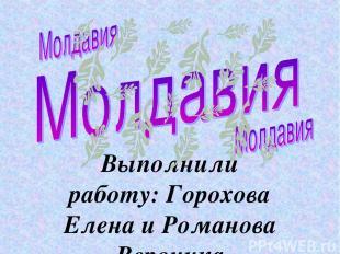 Выполнили работу: Горохова Елена и Романова Вероника