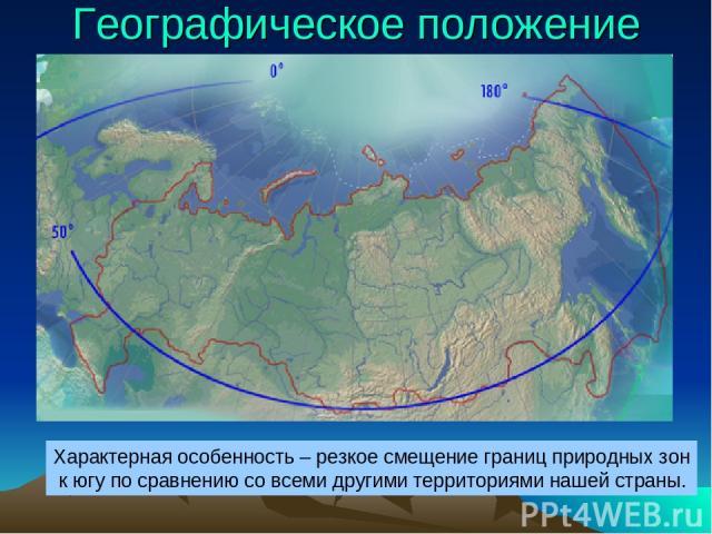 Географическое положение Характерная особенность – резкое смещение границ природных зон к югу по сравнению со всеми другими территориями нашей страны.