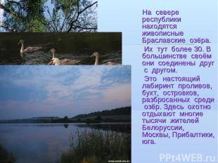 На севере республики находятся живописные Браславские озёра. Их тут более 30. В